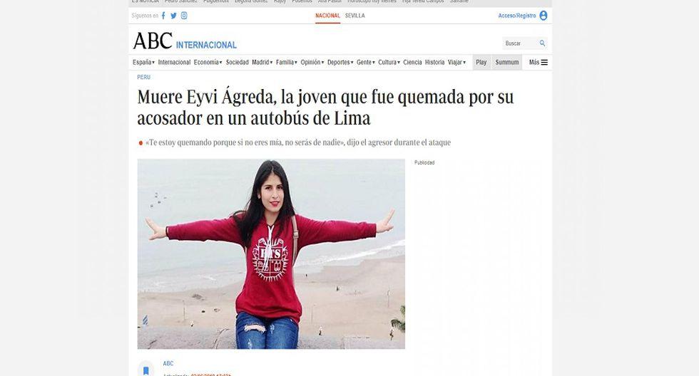 ABC de España informó sobre la muerte de Eyvi Ágreda.