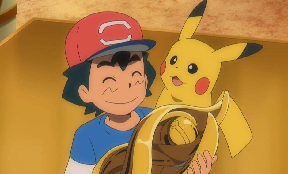 Ash recibe el trofeo por ganar la liga Alola en Pokémon. (Foto: TV Tokyo)