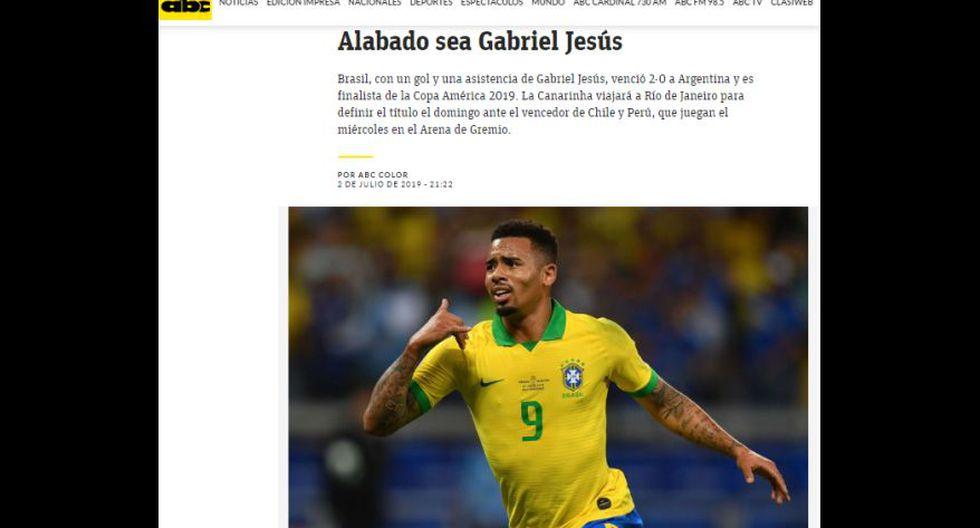 Así informó la prensa en el mundo tras la eliminación de Argentina y clasificación de Brasil a la final de la Copa América 2019.