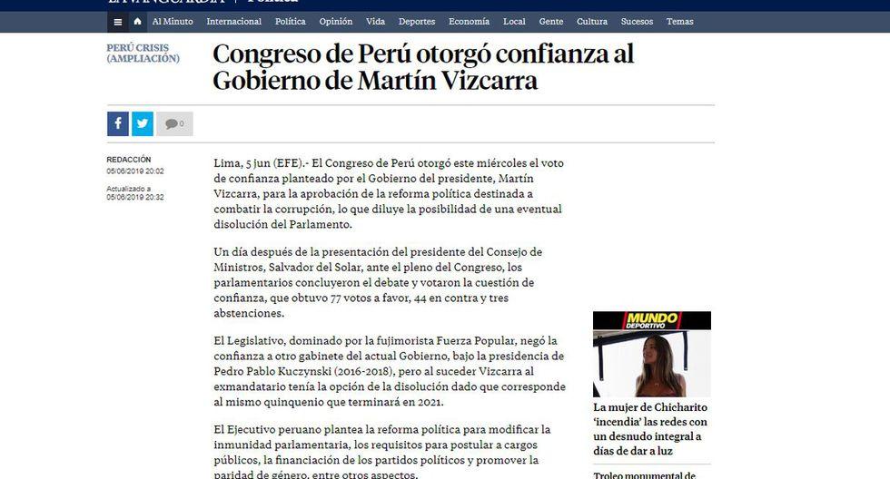 """La Vanguardia de España anunció que el """"Congreso de Perú otorgó confianza al gobierno de Martín Vizcarra"""". (Foto: La Vanguardia - España)"""