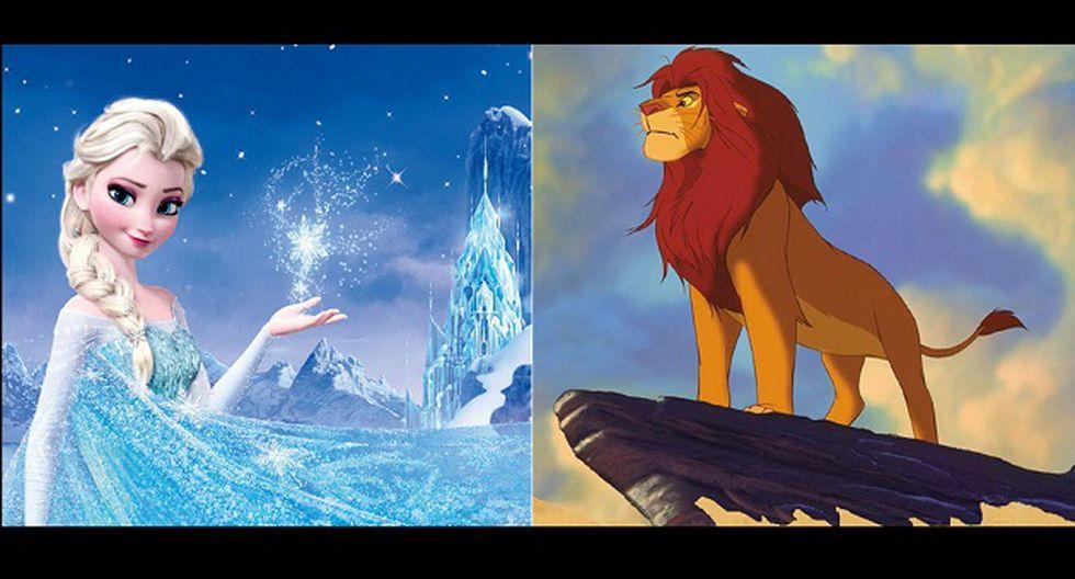 Frozen y El rey león. (Fotos: Disney)