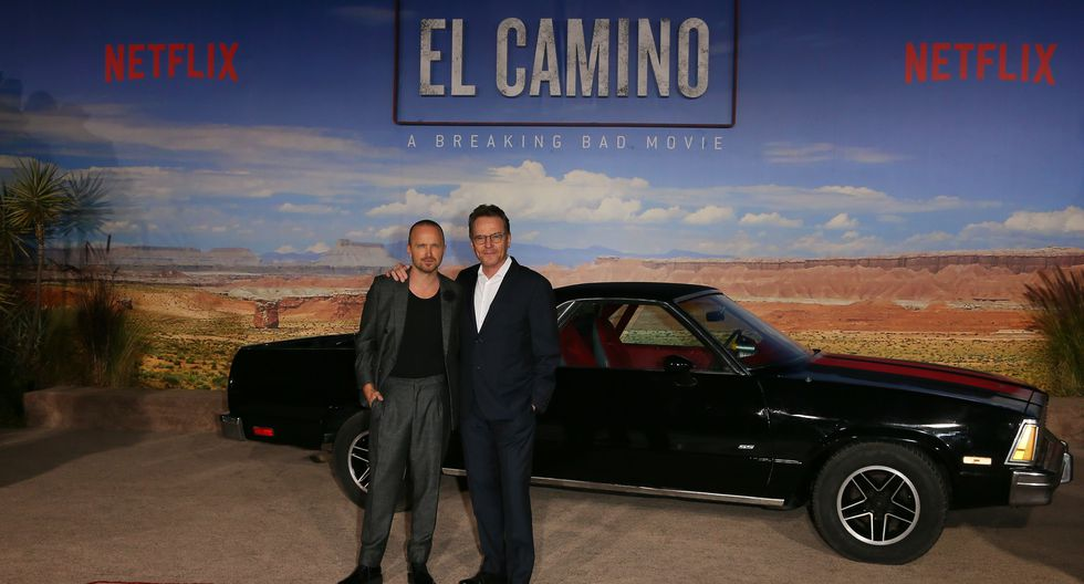 Aaron Paul (L) and Bryan Cranston attend the Premiere of Netflix's 'El Camino: A Breaking Bad Movie' at Regency Village Theatre in Westwood, California on October 7, 2019. (Photo by JEAN-BAPTISTE LACROIX / AFP)